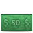 50 cash dollar bill dollars money icon