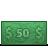 50 cash dollar bill dollars money icon