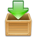 arrow box download green wooden icon