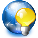 internet light bulb network icon
