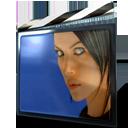 black blue film shutter slider white icon