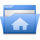blue folder home house open icon